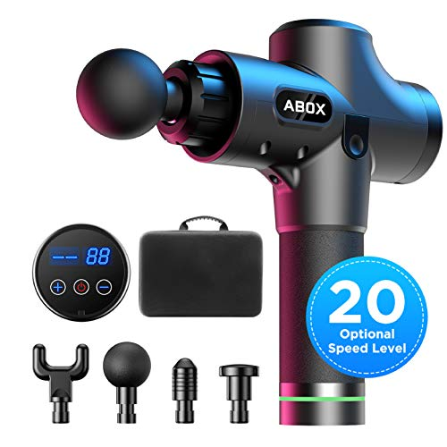 ABOX Percussion Massage Gun, Handheld Muscle Massager Electric Deep Tissue Treatment Device MG-009, with Ultra Quiet Motor, 20 Speed Strength Levels