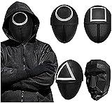 Leaflai 2021 Korean Drama Game Soldiers Masks Triángulo Máscara de la película coreana 2021 TV para Cosplay Accesorios Halloween Máscara fiesta accesorios (4 unidades)