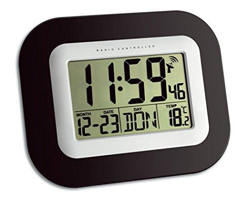 TFA Dostmann 60.4503 Digitale Funkuhr, Wanduhr, mit Innentemperatur und Wochentag/Datum, schwarz