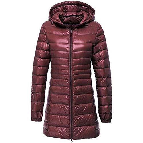 LINXYU Frauen-Daunenjacke Mit Kapuze Mittellange Warm Jacket,Bourgogne,XL