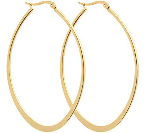2LIVEfor Große Ohrringe Creolen Silber Rose Gold Hoop Earrings Ohrhänger Hoops Creolen sehr Groß Riesig Rund Schlicht Modern Creolen XXL (Gold)