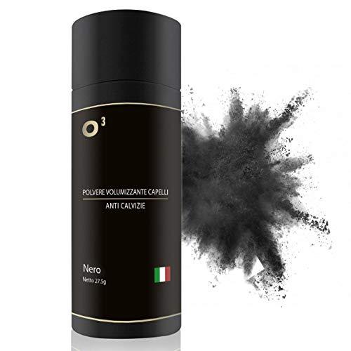 O³ Polvere Volumizzante Capelli UNISEX - 27,5gr NERO - Polvere di Cheratina PREMIUM - Fibre Densificante per Capelli, barba
