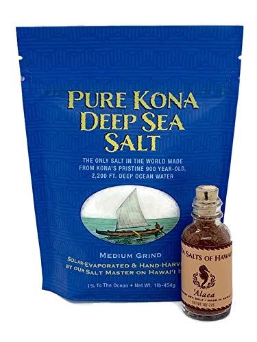 Kona Sea Salt Bundle with 1 - 1LB. Bag of Medium Grind Kona Deep Sea Salt and 1 Sea Salts of Hawaii 1oz. Bottle Alaea Sea Salt