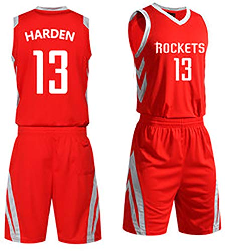 CRYPZYD Männer Fan Basketball Trikot James Harden 13# Houston Rockets Trikot Set, Weste Short Set Sportbekleidung Schnelltrocknende Trikot Kleidung-red-L