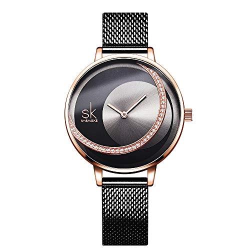 SK Ladies Watch Mesh Band Crystal Luxury Ladies Quartz Wrist Watch Girl Dress Wrist Watch relogio Feminino