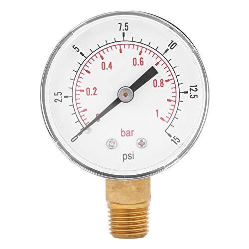 Manometer für Public Service 0-15 psi / 0-1 bar Manometer Niederdruck Manometer 2 Zoll Doppelskala 1/4 Zoll Gewinde BSPT für Kraftstoff Luftkompressor Öl Wasser Gas
