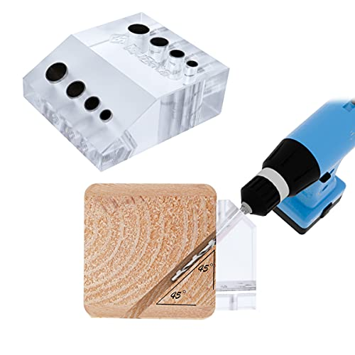 Muzata Drill Guide for Cable Railing Kit Lag Screw Fitting Wood Post Installation, Fit 90 Degree Horizontal Deck and 45 Degree Angled Stair, Visible Drilling Template Jig, Patent Design CT10,CT1