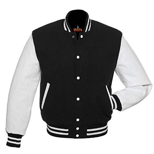 Men's Varsity Jacket Genuine Leather Sleeve and Wool Blend Letterman Boys College Varsity Jackets (Black/White, X-Large)