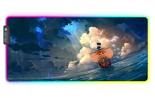 Mouse Pads Ferry One Piece Anime LED RGB Gaming Mouse Pad USB Laptop Carpet Desk Mat Gaming Desk 24x12x0.15 inch