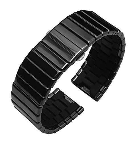 YANYAN MAYALI Pulsera de Reloj de cerámica Pulsera con Hebilla de Mariposa Ajuste para Rado Ceramica Serie Man Watch Band Ceramica R21347222 R21540742 19/24/27/3 5mm