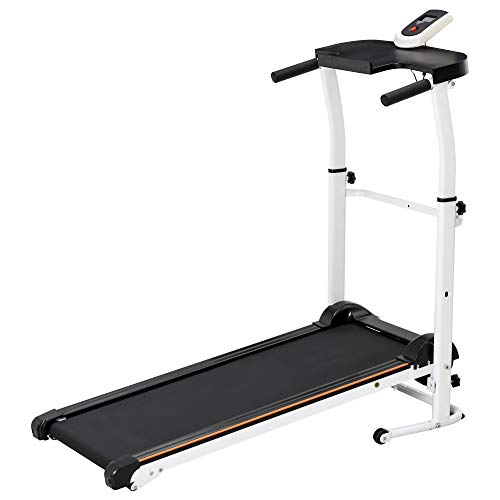 HOMCOM Folding Manual Treadmill Fitness Walking Machine Home Office Exercise Workout Adjustable Height w/LCD Display Black&White