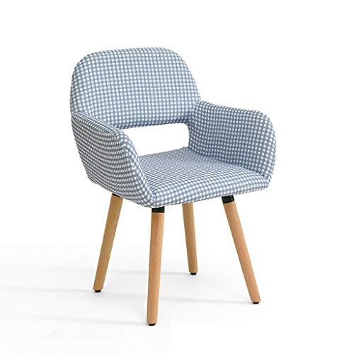 LJZslhei Stuhl Massivholz Stuhl Einfache Moderne Computer Stuhl Kreative Zurück Schreibtisch Stuhl Freizeit Stuhl Esszimmerstuhl Blau Und Weiß Karierten Muster