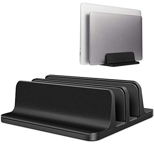 YiYunTE Soporte Vertical Portátil Laptop Stand Soporte para Ordenador Tablet de Aluminio Ancho Ajustable Ahorro de Espacio Combatible con Macbook Portátil Netbook iPad para Oficina Hogar Escritorio