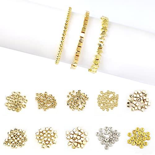 SAVITA 1240 Piezas Cuentas Espaciadoras Chapadas en Oro 10 formas Redondas Estrella Amor Círculo Circular Cuadrado con Fabricación de Pulseras Collares de Joyería de Bricolaje