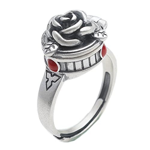 Anillo ajustable para mujer, anillo abierto multifunción, diseño de flor de rosa, tamaño ajustable y creativo para el mejor regalo para novia/familia/amiga