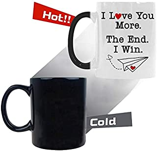 Morph Tea Cup Lover gift - Valentine's Day Gift - I Love You More The End I Win Coffee Mug Color Change Heat Sensitive 11 Ounces