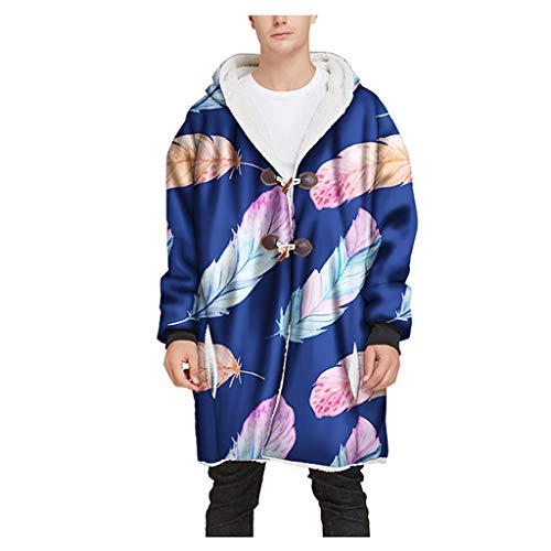 Mens Winter Long Hooded Horn Buckle Plus Velvet Thick 3D Printed Coat Top Blouse Blue