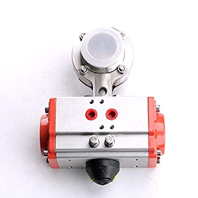 """3/4"""" FLOW SOLUTIONS Sanitary Butterfly Valve,Flow Pipe OD:19MM(3/4 inch) Triclamp Sanitary Butterfly Valve Pneumatic Actuator SS304 with 2 pcs Silicone Gasket from FLOW SOLUTIONS"""