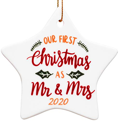 Our First Christmas Ornament as Mr & Mrs 2020 | Gifts for Newlyweds Ceramic Christmas Tree Ornaments 2-in-1, Newly Just Married Porcelain Christmas Tree Decorations, Wedding Ornament for Couples