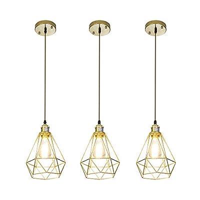 CASILVON Gold Pendant Light, Brass Metal 3 Lights Pendant Lighting Fixtures, Industrial Hollowed Out Hanging Ceiling Lamp for Kitchen Island Dining Room Living Room Bedroom Bar