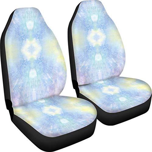 Amzbeauty Fundas de asiento de tela de ajuste universal, 2 unidades, para maleteros, SUV o furgonetas, protectores elásticos clásicos con correas ajustables