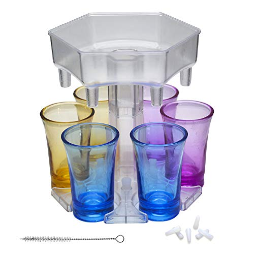 Dispensador de vasos de chupito de 6 formas, dispensador de chupito de barra, dispensador de licor para llenar líquidos, juegos de beber, fiesta de cóctel, con vasos de colores (transparente)
