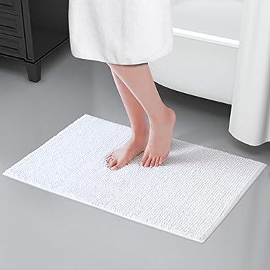 Lifewit 32 x20  Bath Mat Non Slip Microfiber Shaggy Chenille Bath Rugs Bathroom Shower Mats Rug White