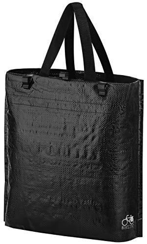 BikeZac Einkaufsfahrradtasche schwarz | Gepäckträgertasche Hinten | Einkaufswagen Tasche wiederverwendbar | Schwarze Fahrrad Einkaufstasche | Recycling | Foldable Shopping Bag | Black Plain