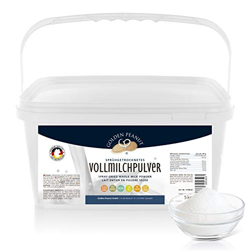 Vollmilchpulver 26 g Fettanteil 5 kg | Hohe Haltbarkeit | Kaffeweißer | Vollmundiger Geschmack | Frischmilchersatz | Babynahrung | Backen u. Kochen | Golden Peanut