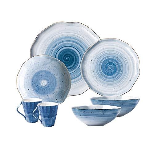 YNHNI Juego de platos de cerámica europea, de plato, de plato, de carne, repetibles (color: azul, tamaño: A)