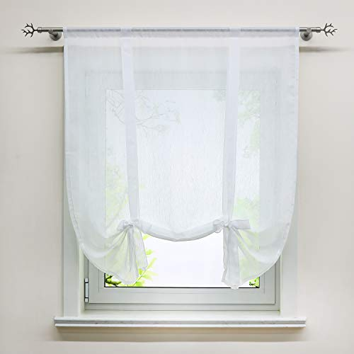 Delien Voile Raffrollo in Leinen-Optik transparentes Bindegardine Unifarbiges Schals Fenster Gardine BxH 120x140cm, weiß, 1 St.