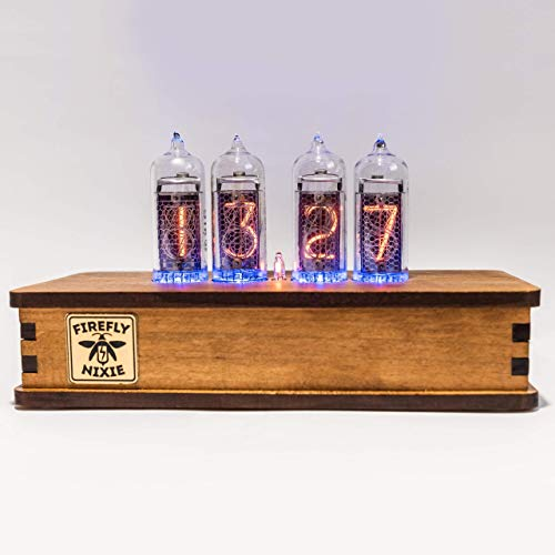 Handmade Nixie Tube Clock IN-14 - Vintage Retro Table Clock - Wooden Desk Nixie Tube Clock