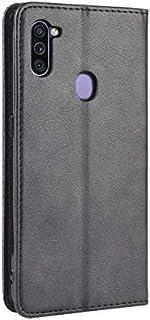حافظة هاتف مع محفظة ممغنطة قابلة للطي للبطاقات، مخصصة لهاتف سامسونج جالكسي ام 11، باللون الاسود