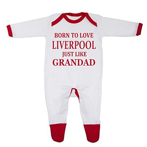 'Born to Love Liverpool Just Like Grandad' - Pijama para bebé con diseño e impreso en el Reino Unido con algodón peinado 100% fino.