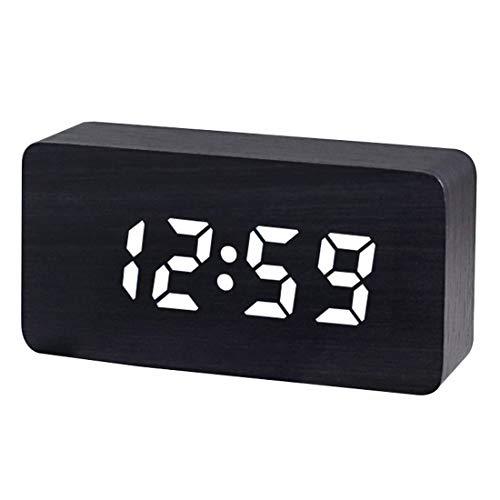 GSODC digitale led-klok met USB-oplaadpoort, nachtkastje van hout, snooze-wekker met 3 instelbare helderheidsniveaus en stembediening voor slaapkamer, kantoor, kinderen, jongeren