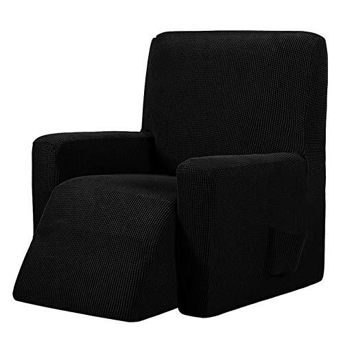 weichuang Funda de sofá impermeable elástica para sillón reclinable, funda de sofá de masaje todo incluido, funda de sofá para sillón con respaldo de ala (color: negro)