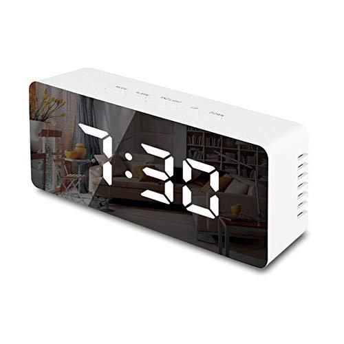 Aawsome Reloj despertador digital LED con espejo de repetición, electrónico, pantalla de temperatura, reloj despertador para dormitorios, cocina, oficina
