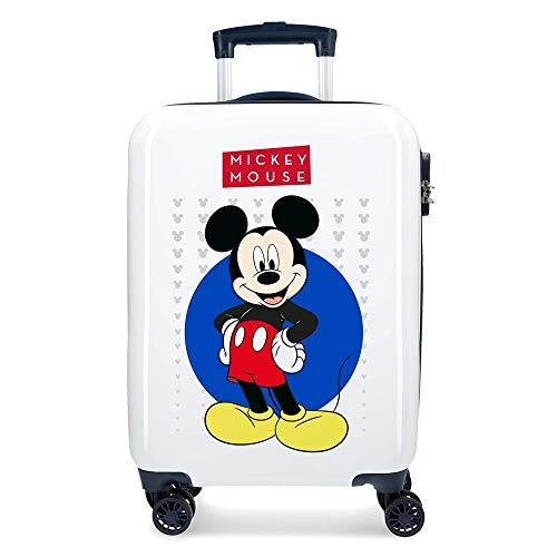 Disney Mickey Enjoy the Day Maleta de cabina Blanco 40x55x20 cms Rígida...