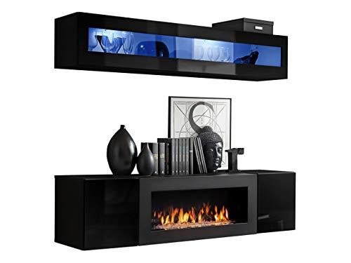 Moderne Wohnwand mit Kamin Bioethanol Flyer N2, Elegante Anbauwand mit Kamineinsatz, Schrankwand, Wohnzimmer-Set, TV-Lowboard, Vitrine (Schwarz/Schwarz Hochglanz)