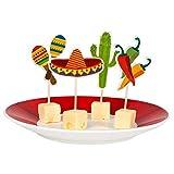 Boland 54412 - Spieße Fiesta, 12 Stück, Länge Holzstab 9 cm, Mexiko, Holzspieße, Snacks, Häppchen, Partygeschirr, Geburtstag, Mottoparty, Karneval