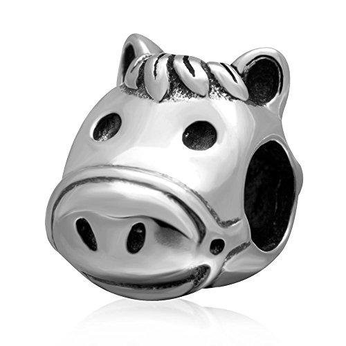 Happy Horse Head Charm Echt 925 Sterling Zilver Dier Kralen past Diy Europese Armband Sieraden