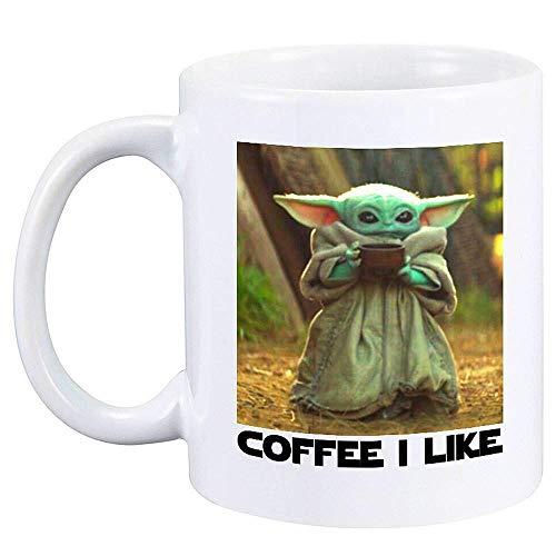 Baby Yoda Tasse Cafe Cup, Baby Cup Spaß Kaffeetasse, Becher War Cup Einzigartiges Geschenk Travel Cup Cafe War Cup (Blau)