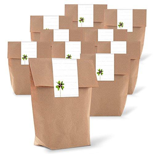 Logbuch-Verlag 25 kleine Papierbeutel zum Befüllen KLEEBLATT Glücksbringer Geschenk Silvester Neujahr Geburtstag Hochzeit braun weiß grün