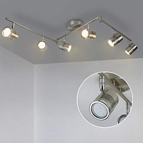 DLLT 6-Light Track Lighting Fixtures Swing Arm, Kitchen Ceiling Spot Light, Flush-Mount Foldable Track Rail Lighting for Living Room, Dining Room, Offices, Bedroom, Picture Wall, Kitchen, Warm Light