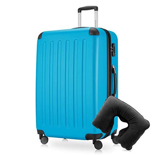Hauptstadtkoffer - Spree Hartschalen-Koffer-XL Koffer Trolley Rollkoffer Reisekoffer Erweiterbar, 4 Rollen, TSA, 75 cm, 119 Liter, Cyan Blau inkl. Reise Nackenkissen