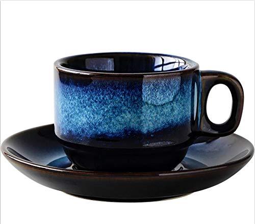 KTSWP 180 ML Tasse à Café en CéRamique Et Soucoupe Ensemble CréAtif Tasse De Petit DéJeuner Thé De L'AprèS-Midi Style Japonais Simple RéTro Bleu,L