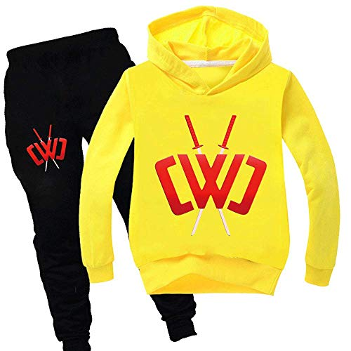 Boys and Girls Autumn and Winter Sportswear Suits, Chad Wild Clay Children's Hoodie Casual Pants Suits are Suitable for Children Aged 3-17 Yellow
