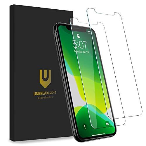 UNBREAKcable [2-Pezzi Vetro Temperato Compatibile con iPhone 11 PRO/X/XS (5.8') [Anti-graffio, Anti-Impronta, Senza Bolle] Pellicola Vetro Temprato Premium Doppia Difesa Serie per iPhone 11 PRO/X/XS