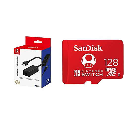 Hori Adaptador LAN (Nintendo Switch) + SanDisk SanDisk microSDXC UHS-I Tarjeta para Nintendo Switch 128GB, Producto con Licencia de Nintendo