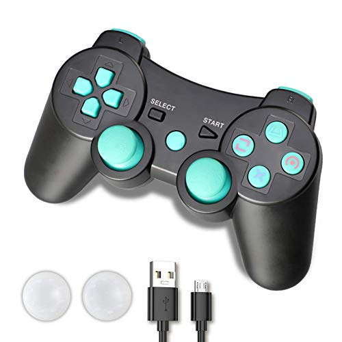 Shineled PS3 Controller, Wireless Controller für PS3, Double Shock 6-Achsen Bluetooth Gamepad Joystick mit Ladekabel für Playstation 3 (Blue)